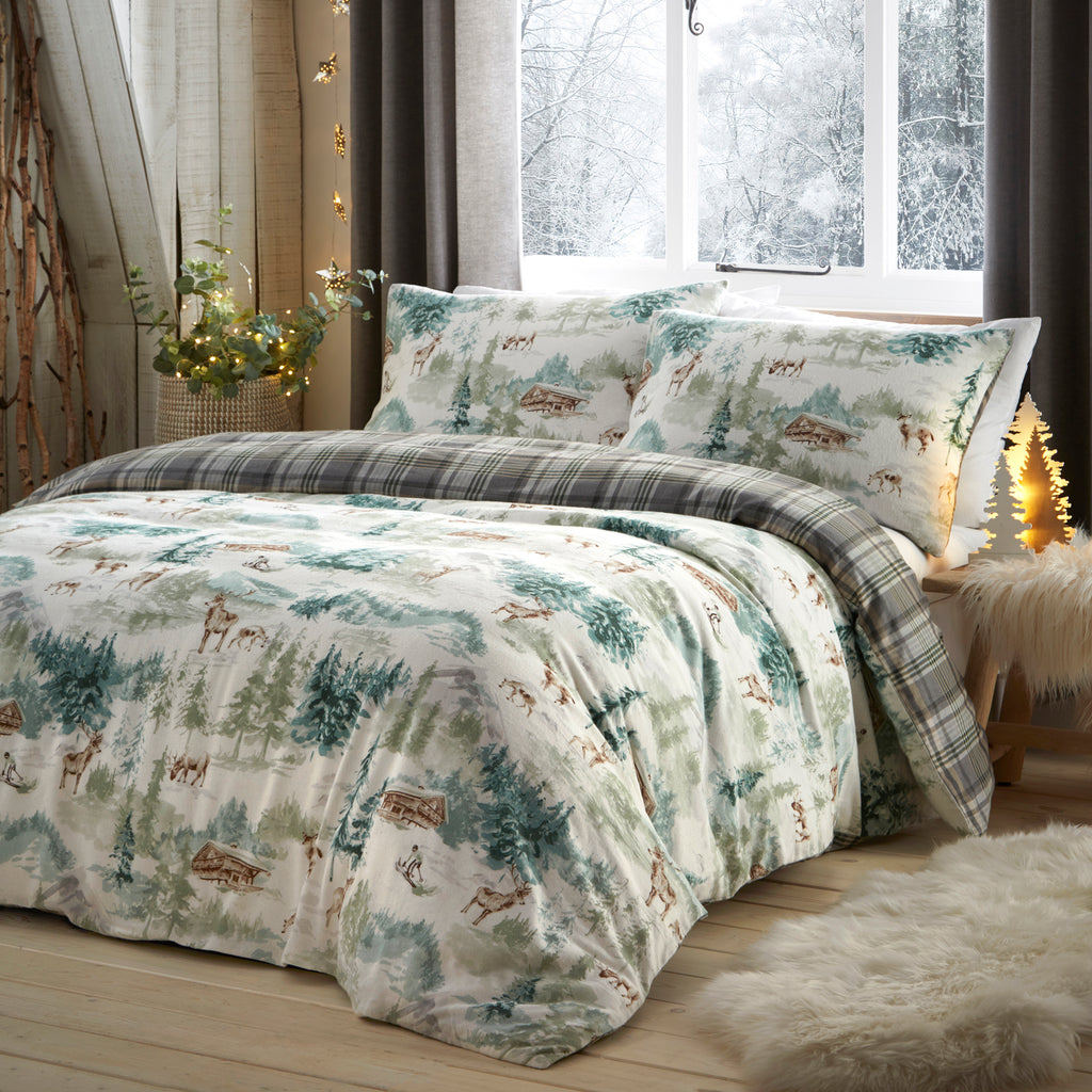 Snow Scene - Brushed Cotton Duvet Cover Set in Multi - By Fusion Christmas