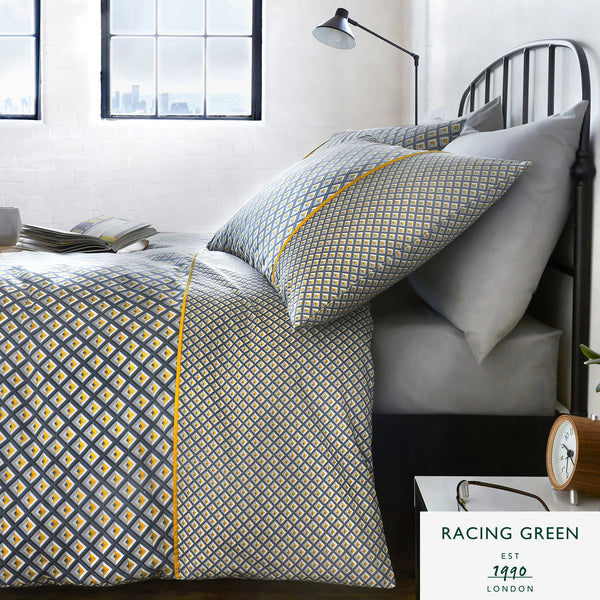 Racing Green - Soho Grey & Ochre Duvet Cover Set