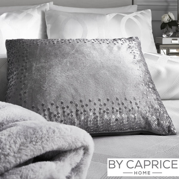 Sophia - Sequined Velvet Filled Cushion in Silver - By Caprice Home