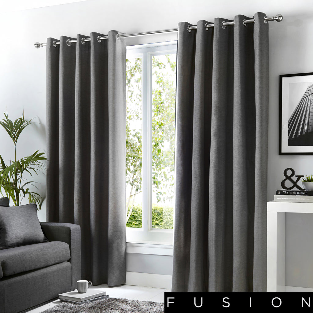 Sorbonne - 100% Cotton Lined Eyelet Curtains in Charcoal - by Fusion