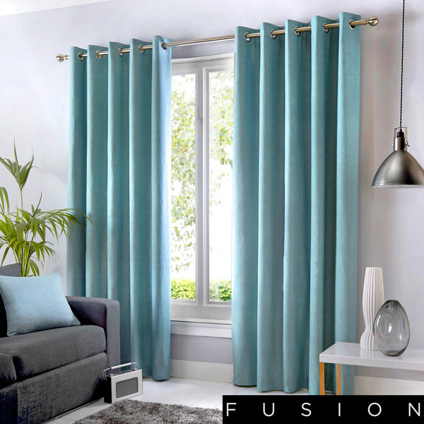 Sorbonne - 100% Cotton Lined Eyelet Curtains in Duck Egg - by Fusion