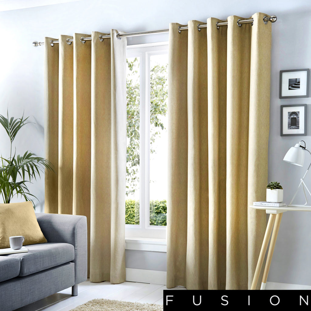 Sorbonne - 100% Cotton Lined Eyelet Curtains in Natural - by Fusion