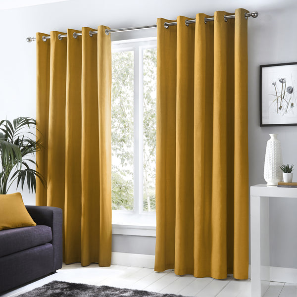 Sorbonne - 100% Cotton Lined Eyelet Curtains in Ochre - by Fusion