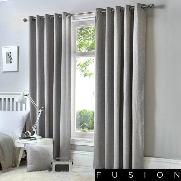 Sorbonne - 100% Cotton Lined Eyelet Curtains in Silver - by Fusion