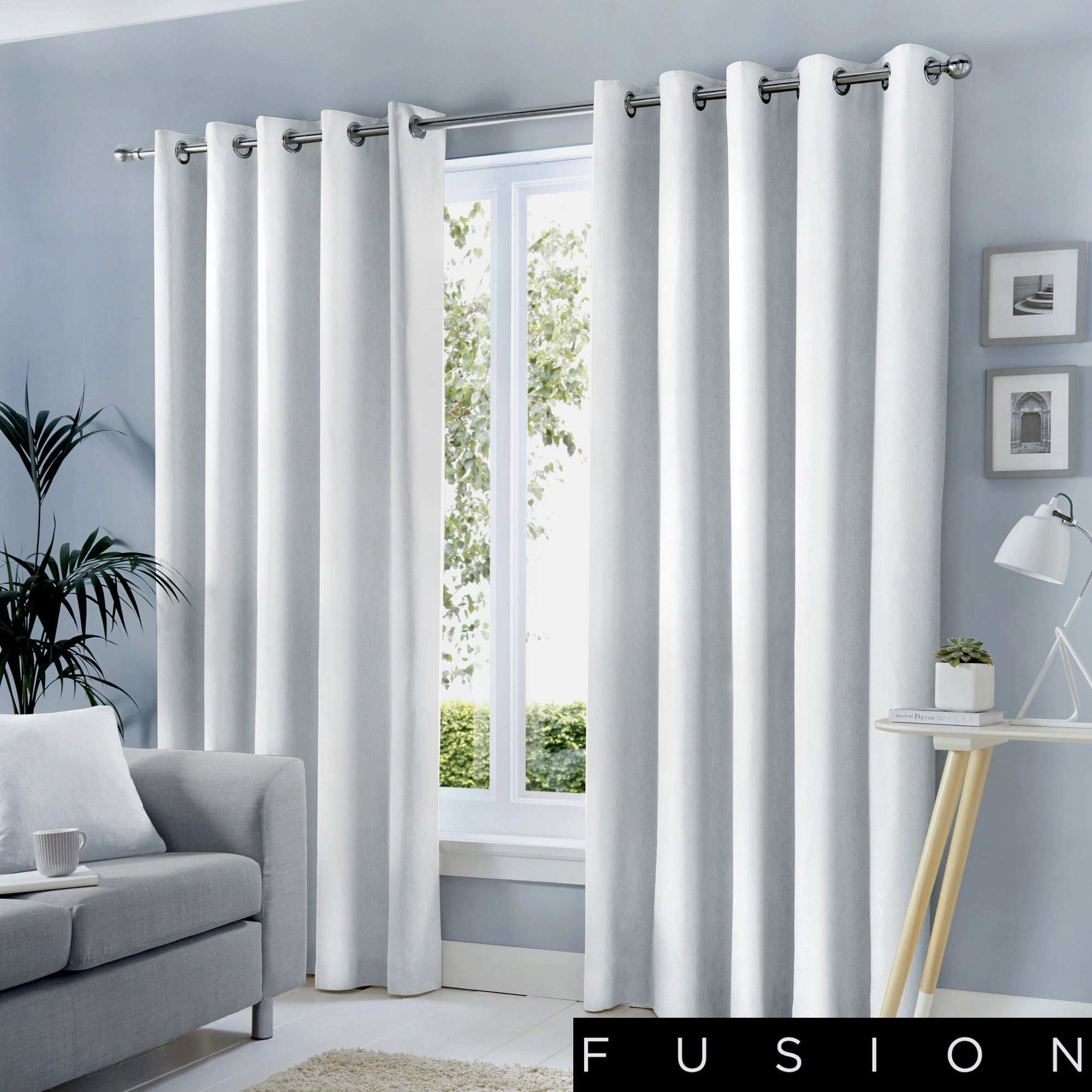 Sorbonne - 100% Cotton Lined Eyelet Curtains in White - by Fusion