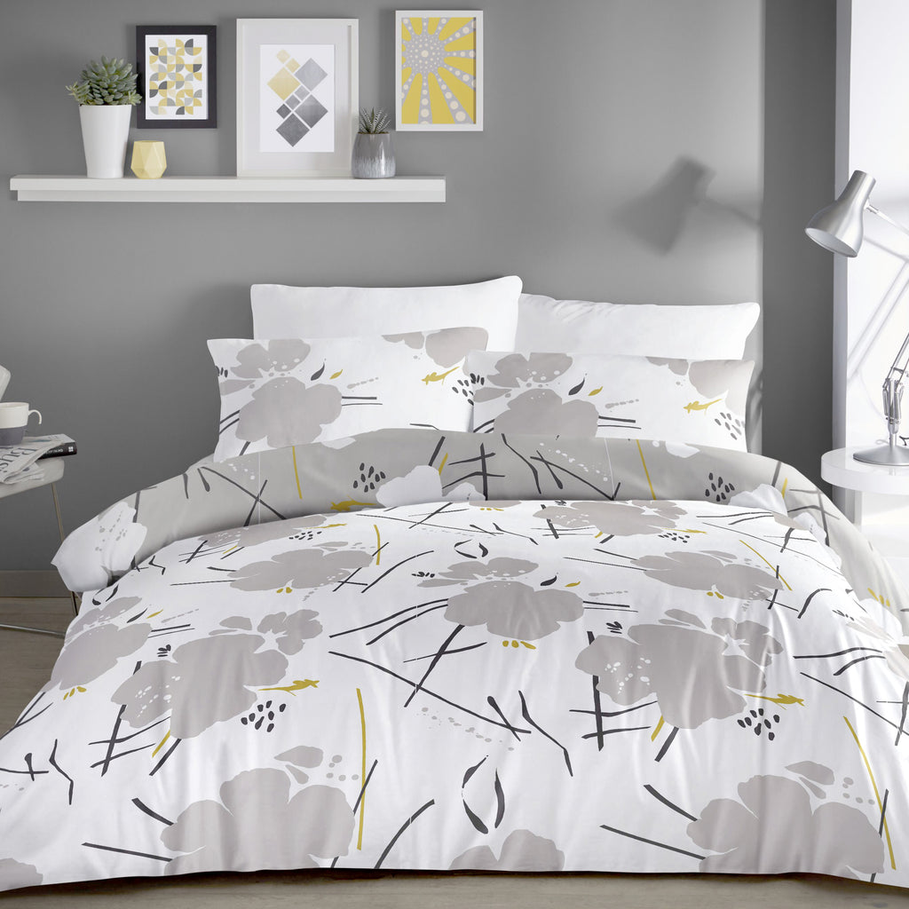 Starline Grey - Geometric Easy Care Bedding - by Dreams & Drapes