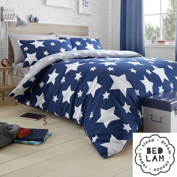 Stars - Brushed Cotton Duvet Cover Set, Curtains & Fitted Sheets in Blue - by Bedlam