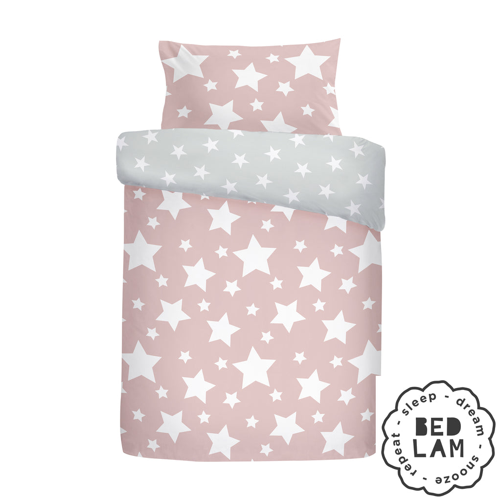 Stars - Brushed Cotton Duvet Cover Set, Curtains & Fitted Sheets in Pink - by Bedlam