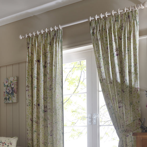 Staveley - 100% Cotton Pair of Pencil Pleat Curtains in Green - by Fusion