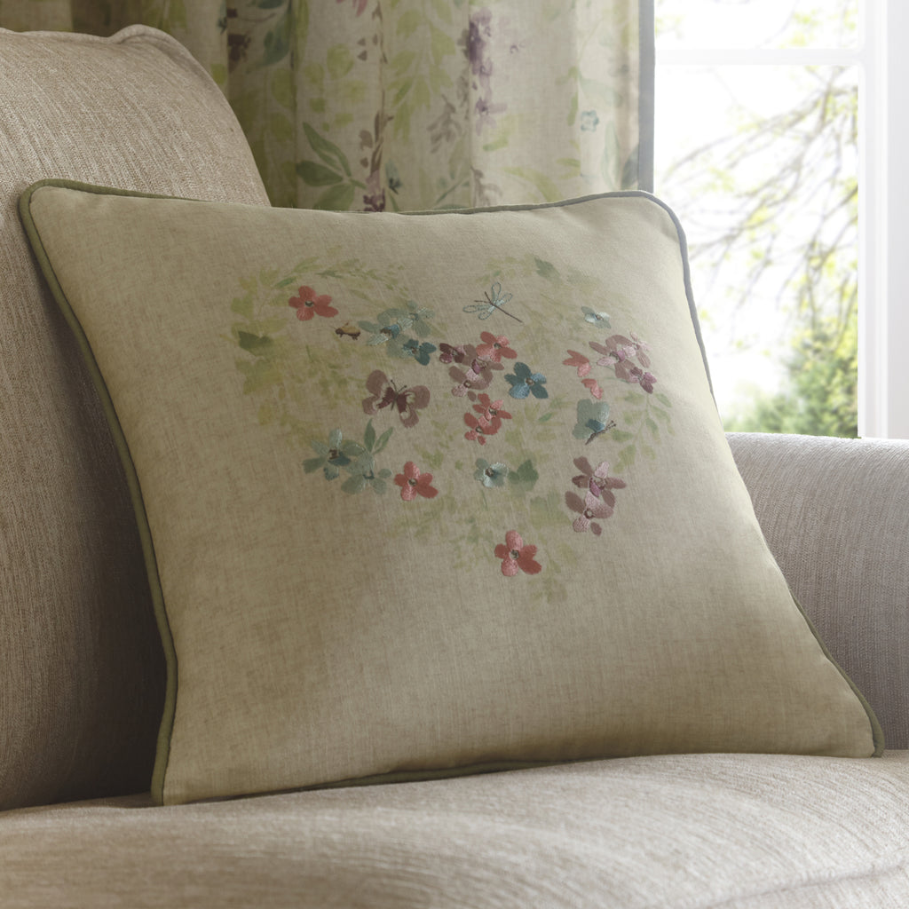 Staveley - Embroidered Heart Filled Cushion - by Fusion