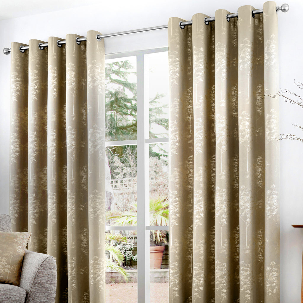 Elmwood - Lined Eyelet Curtains in Stone