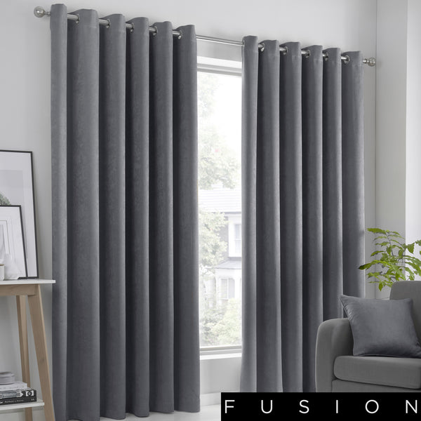 Strata - Blockout Eyelet Curtains in Charcoal - by Fusion