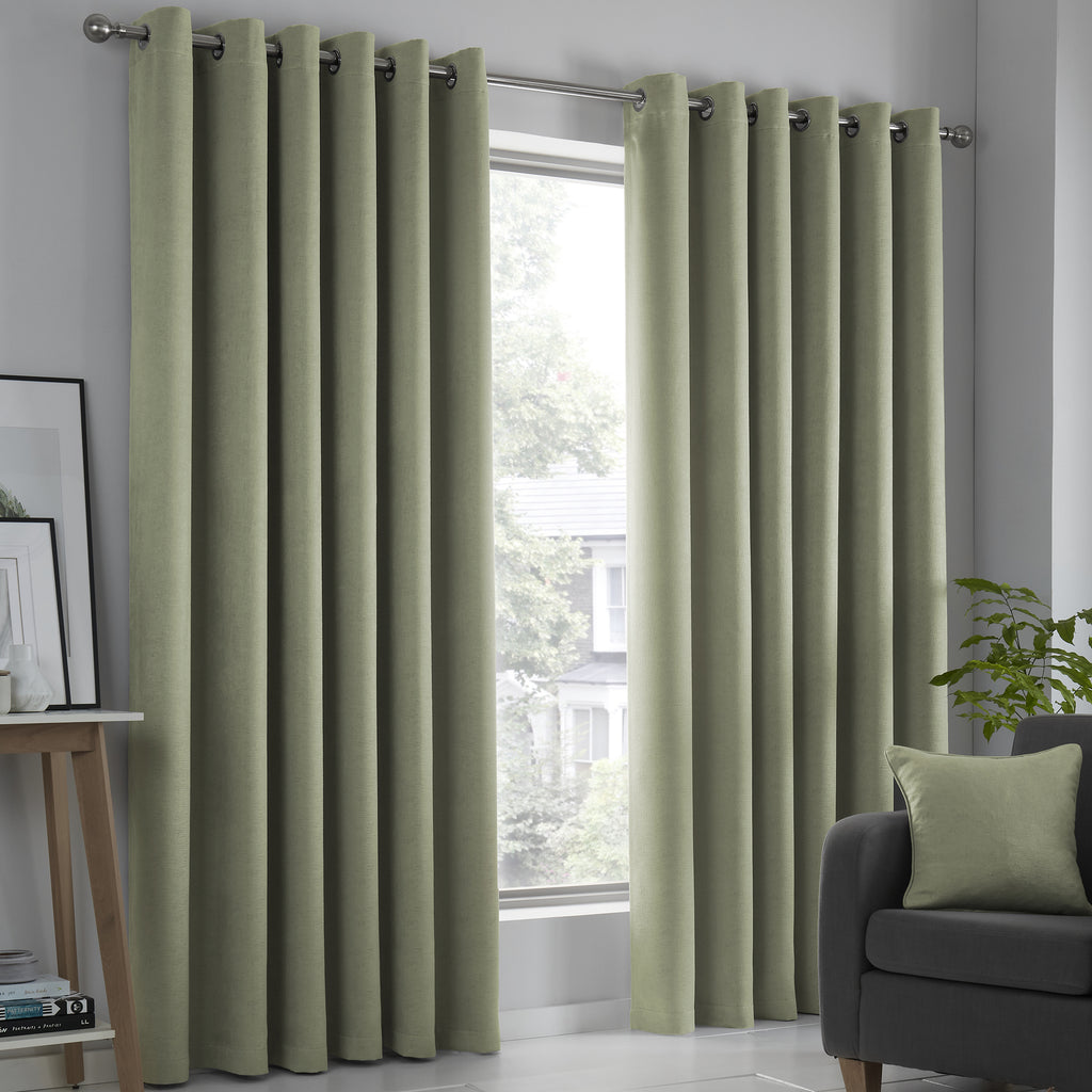 Strata - Blockout Pair of Eyelet Curtains in Green - by Fusion