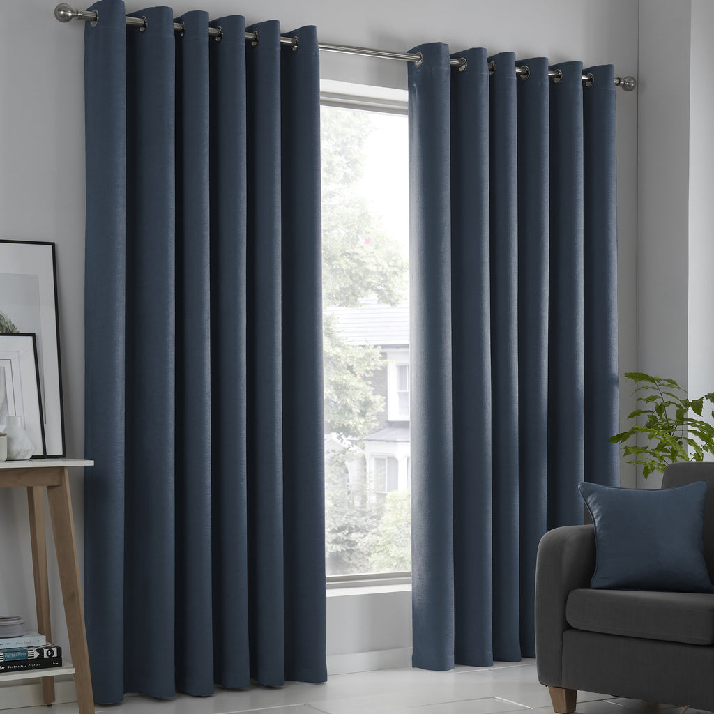 Strata - Blockout Pair of Eyelet Curtains in Navy - by Fusion