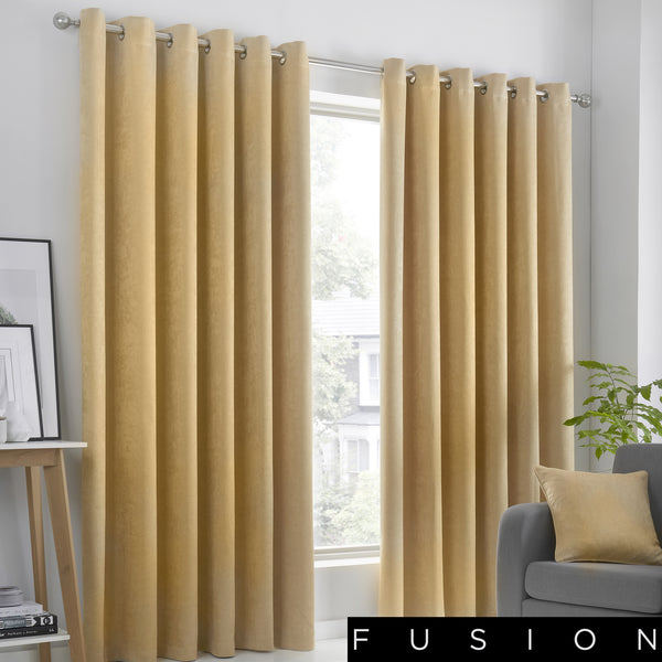 Strata - Blockout Eyelet Curtains in Ochre - by Fusion