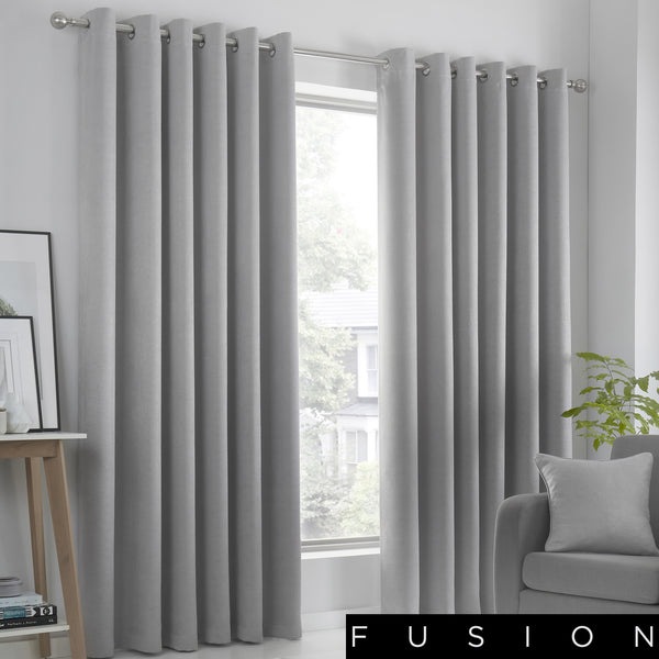 Strata - Blockout Eyelet Curtains in Silver - by Fusion