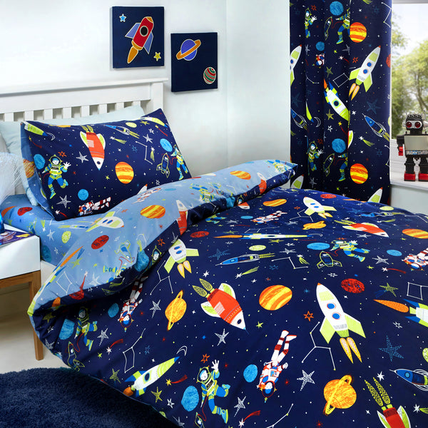 Supersonic - Glow In The Dark Duvet Cover Set, Curtains & Fitted Sheets - by Bedlam