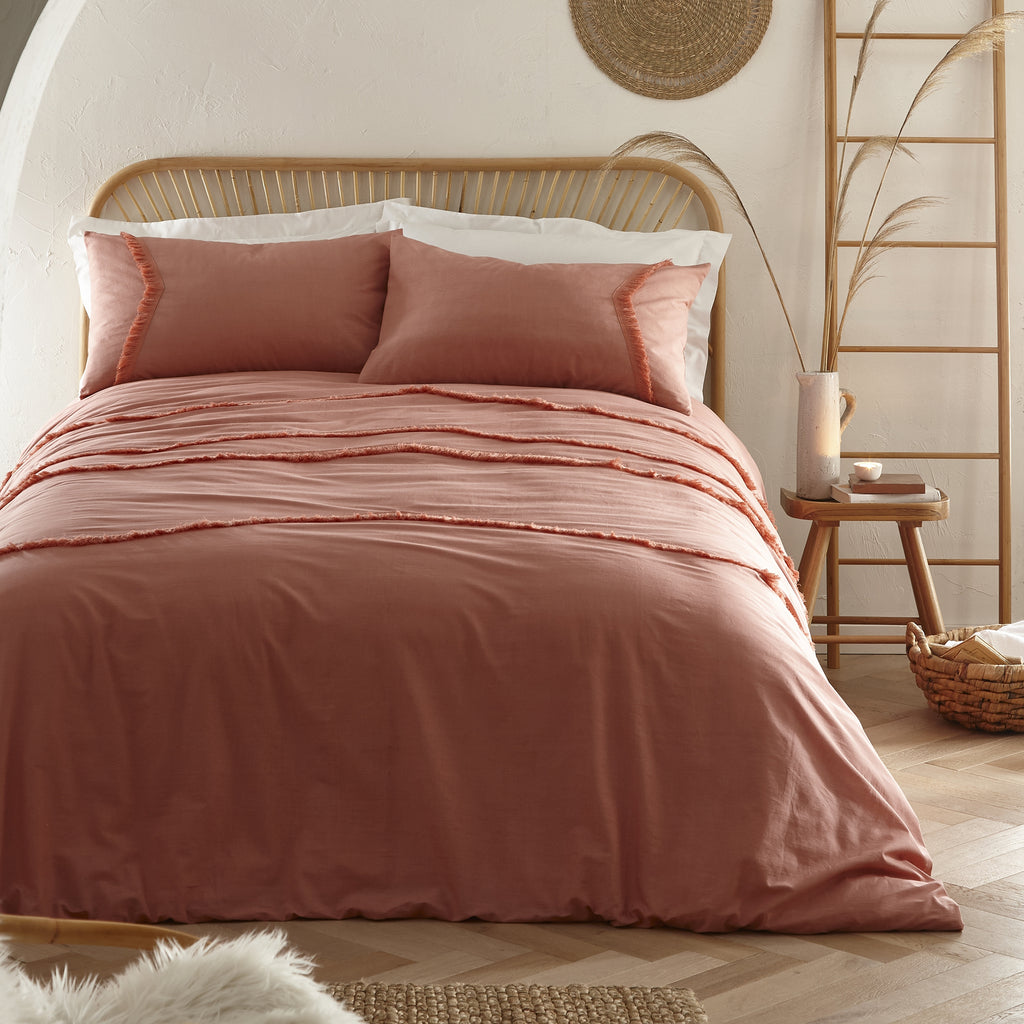 Tabitha - Chevron Tassel Relaxed Cotton Duvet Cover Set in Dark Coral - by Appletree Loft