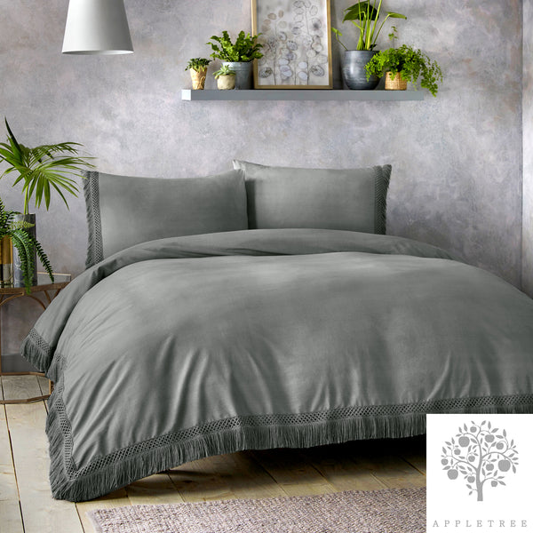 Tasha - 100% Cotton Duvet Cover Set in Slate by Appletree Signature