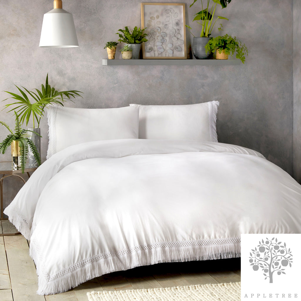 Tasha - 100% Cotton Duvet Cover Set in White by Appletree Signature