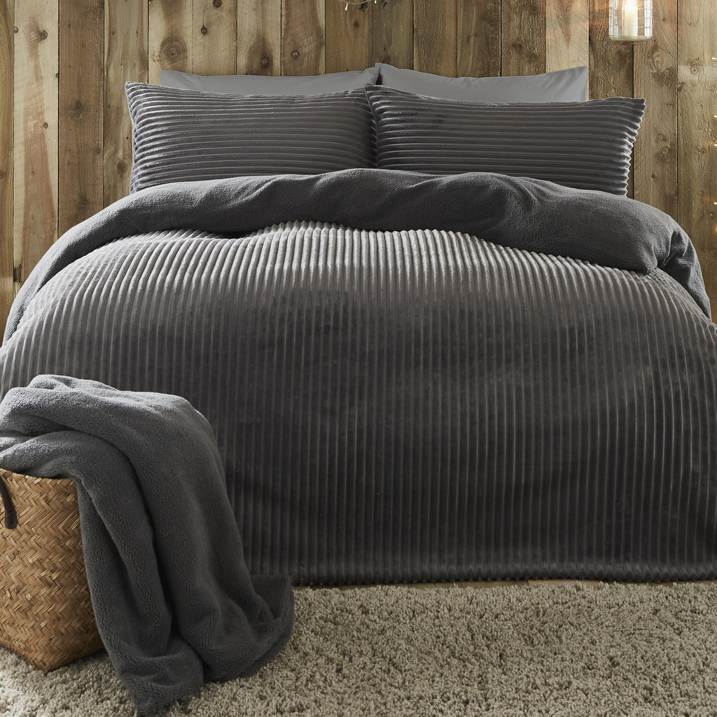 Ribbed Teddy Fleece - Extra Soft Duvet Cover Set in Charcoal - by Fusion