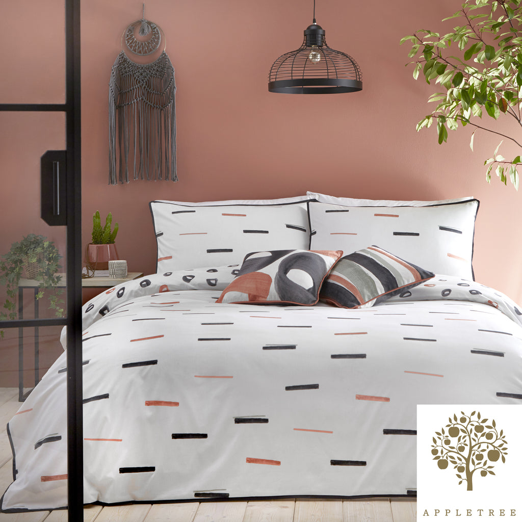 Tenley - 100% Cotton Duvet Cover Set in Coral -  by Appletree