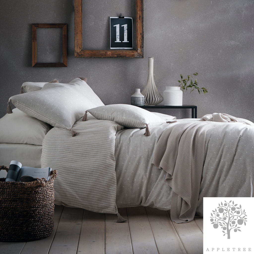 Trenton Spot - 100% Cotton Duvet Cover Set in Linen- by Appletree Signature