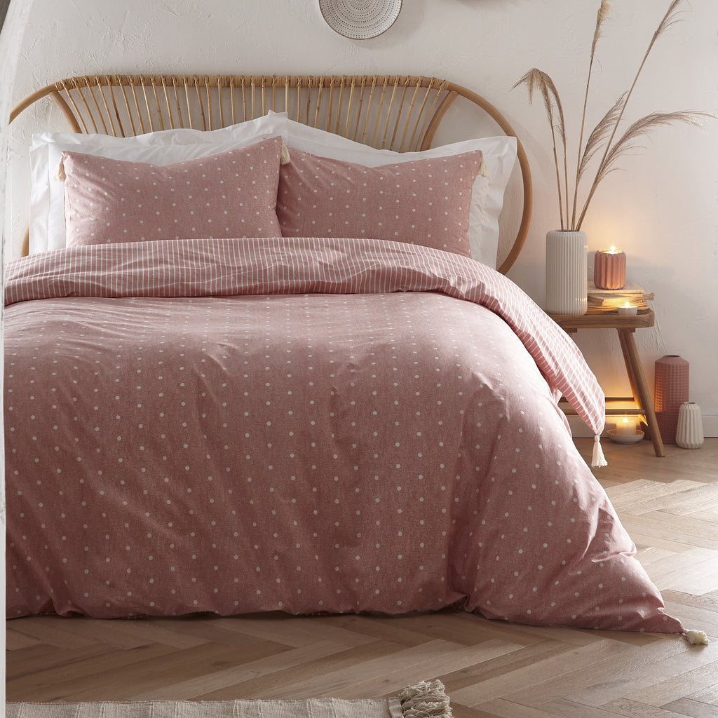 Trenton Spot - Relaxed Duvet Cover Set in Dark Coral - by Appletree Loft