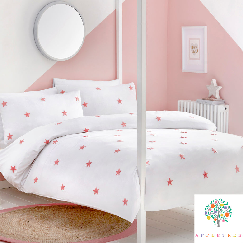 Tufted Star Pink - 100% Cotton Duvet Cover Set by Appletree Kids