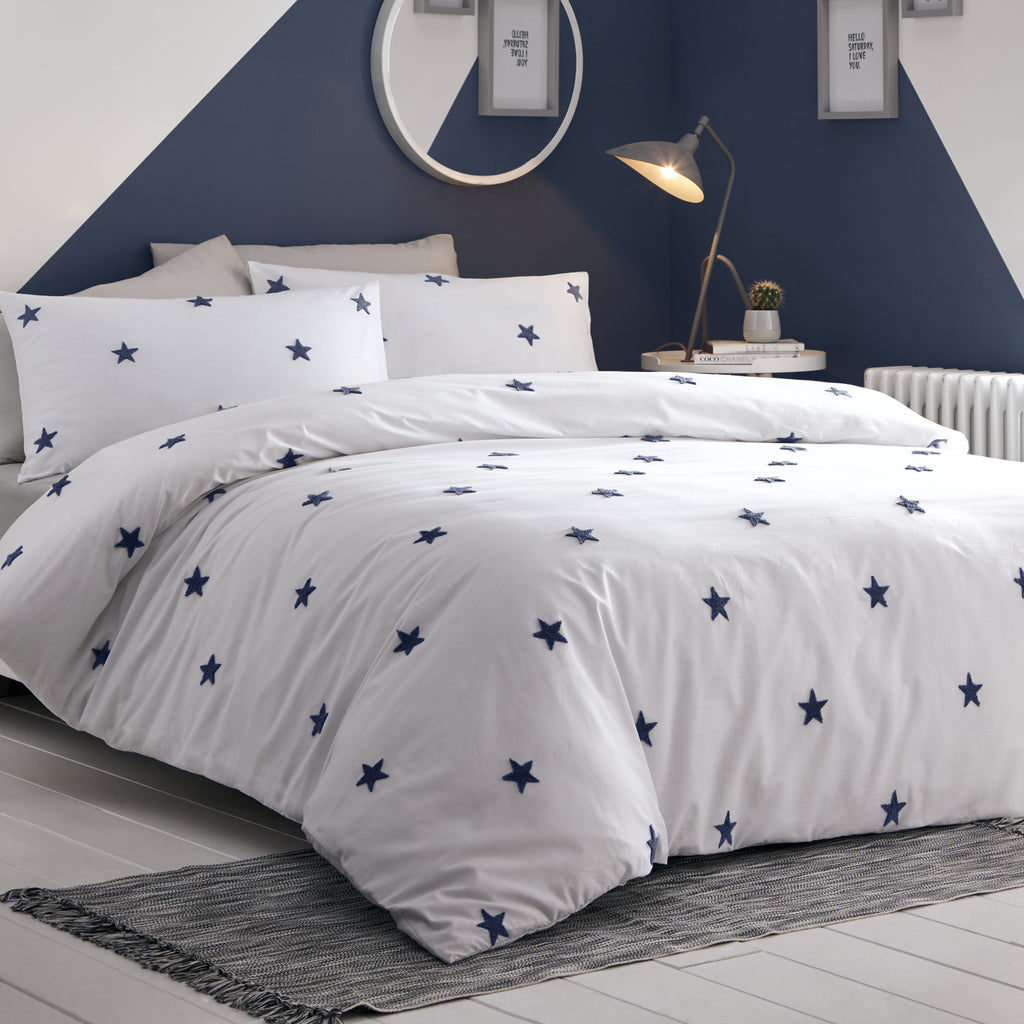Tufted Star - 100% Cotton Duvet Cover Set in Navy by Appletree Kids
