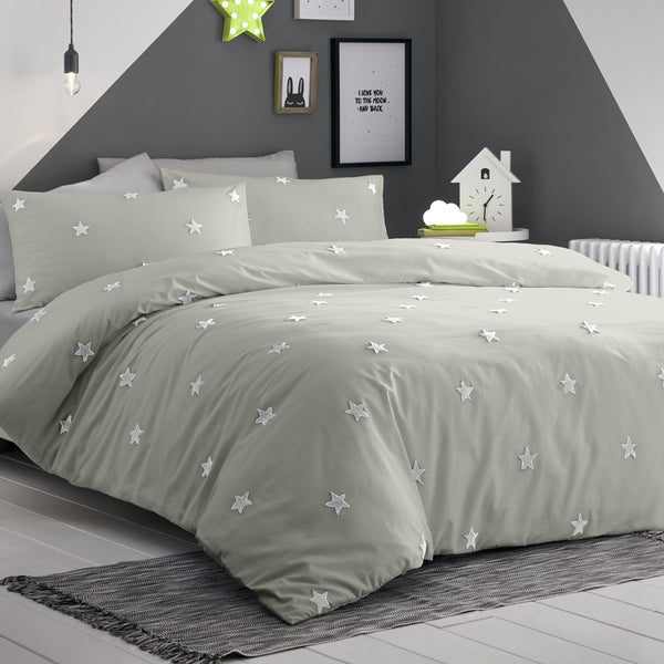 Tufted Star - 100% Cotton Duvet Cover Set in Silver by Appletree Kids