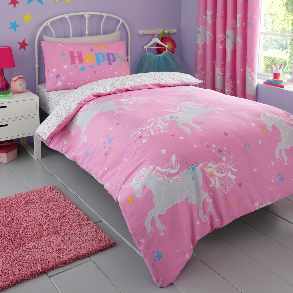 Unicorn Glow - Glow in the Dark Duvet Cover Set, Curtains & Fitted Sheets in Pink - by Bedlam
