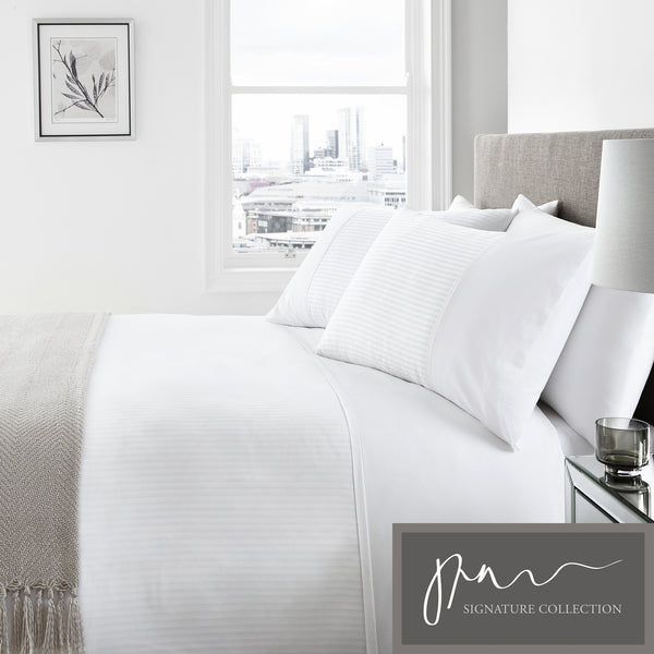 Verona - 100% Cotton 200 Thread Count Duvet Cover Set in White - by Signature