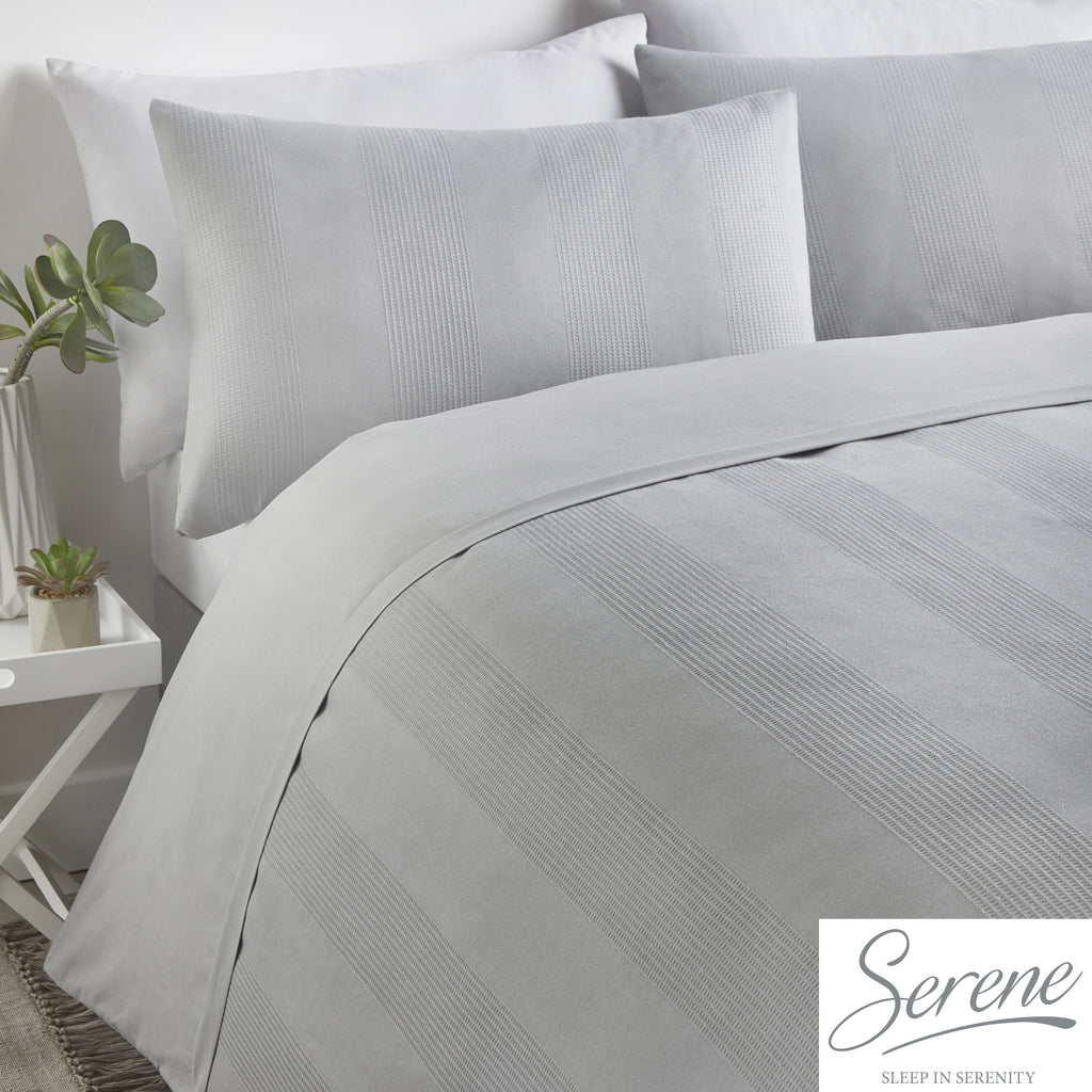 Waffle Stripe - Easy Care Duvet Cover Set in Silver - by Serene