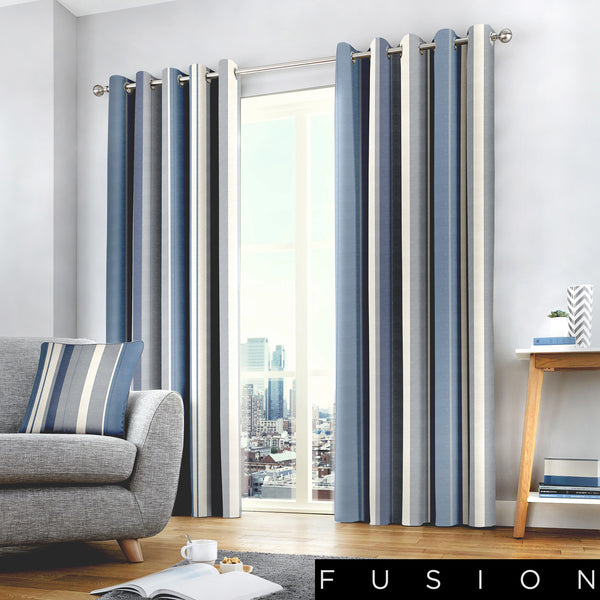 Whitworth Stripe - 100% Cotton Lined Eyelet Curtains in Blue - by Fusion