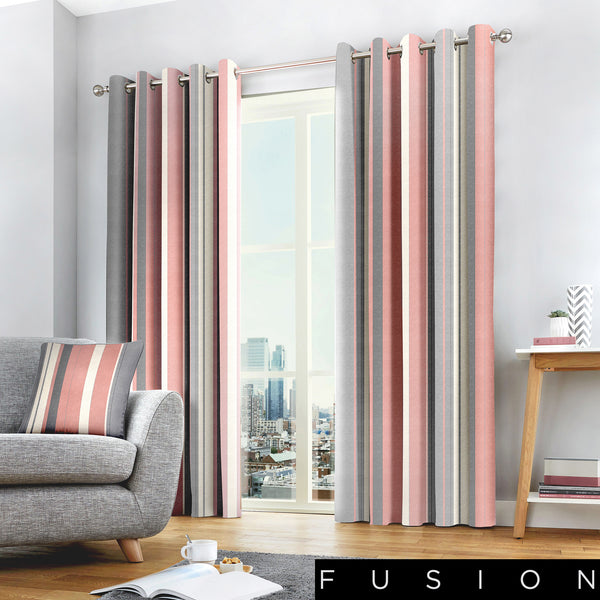Whitworth Stripe - 100% Cotton Lined Eyelet Curtains in Blush - by Fusion