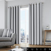 Whitworth Stripe - 100% Cotton Lined Eyelet Curtains in Grey - by Fusion