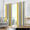 Whitworth Stripe - 100% Cotton Lined Eyelet Curtains in Ochre - by Fusion