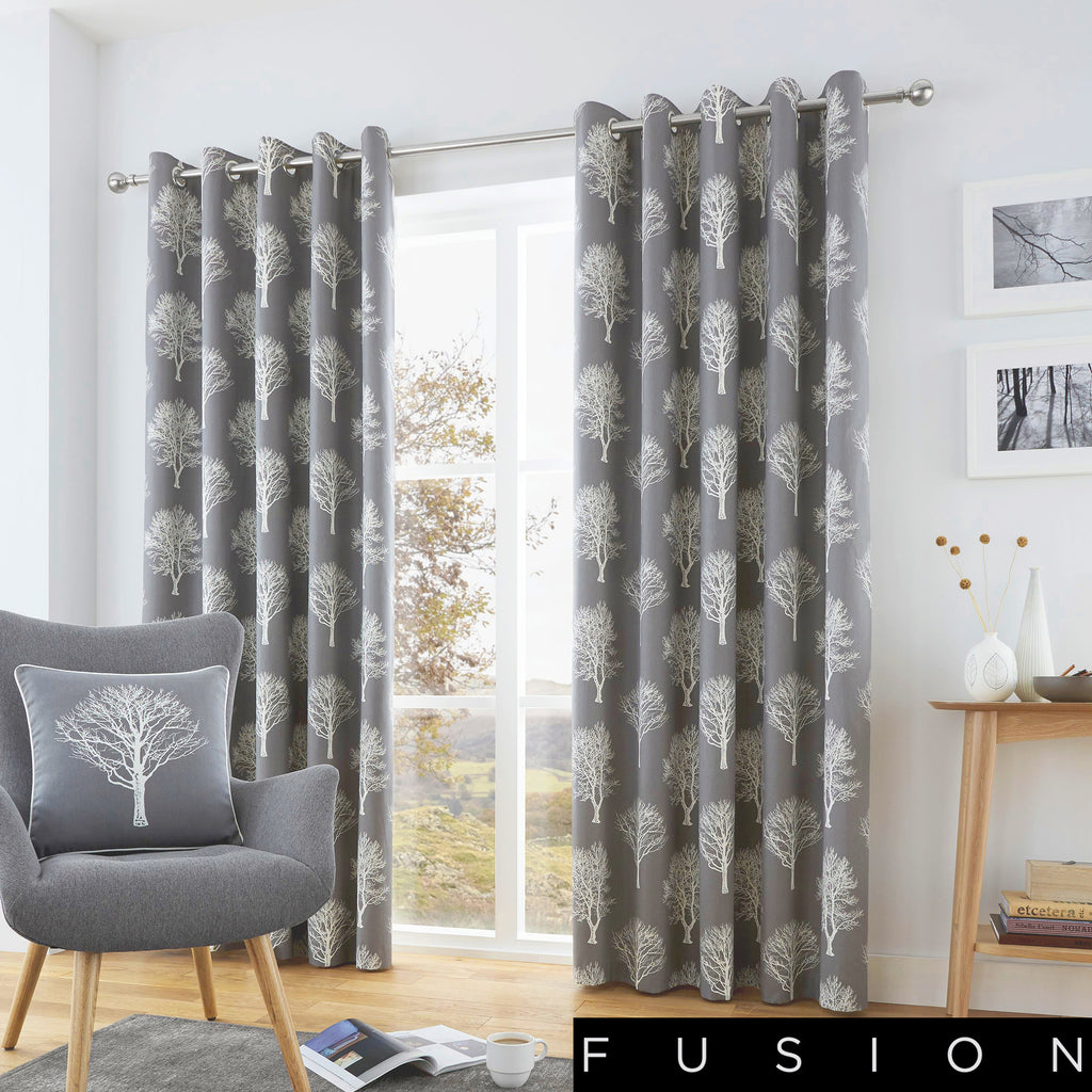 Woodland Trees - 100% Cotton Lined Eyelet Curtains in Charcoal - by Fusion