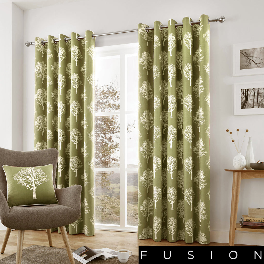 Woodland Trees - 100% Cotton Lined Eyelet Curtains in Green - by Fusion