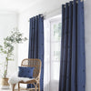 Zara - Tufted Spots Pair of Eyelet Curtains in Navy - By Appletree Boutique