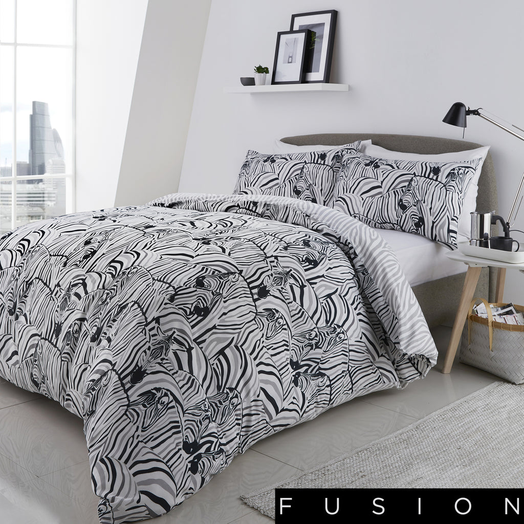 Zebra Charcoal - Easy Care Duvet Cover Set - By Fusion