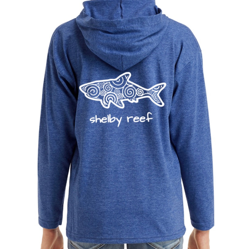 Youth Long Sleeve Hooded T-Shirt - Heather Blue