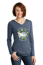Load image into Gallery viewer, Ladies Long Sleeve Hooded T-Shirt - Great White Navy Frost