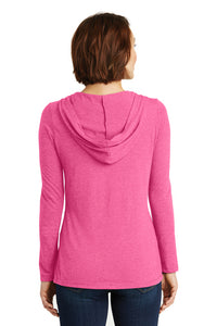 Ladies Long Sleeve Hooded T-Shirt - Great White Fuchsia Frost