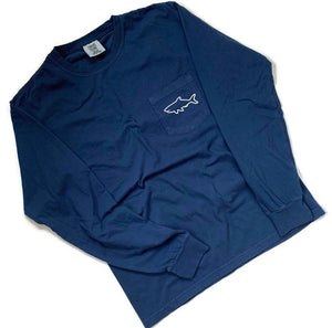 Adult Long Sleeve Pocket T-Shirt - Waves Midnight