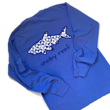 Load image into Gallery viewer, Adult Long Sleeve Pocket T-Shirt - Geo Shark Flo Blue
