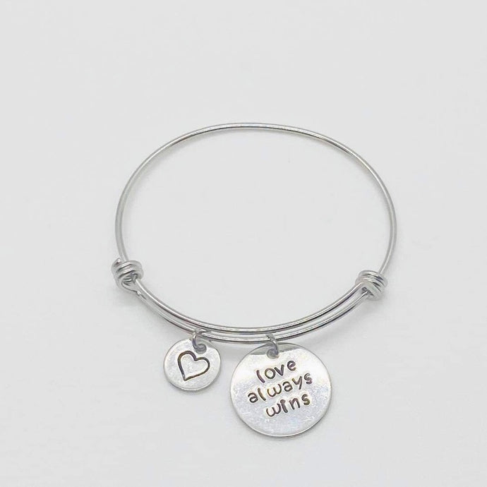 Hand Stamped Stackable Bracelet - Love Always Wins