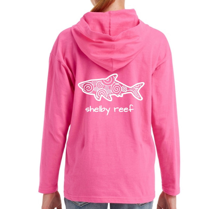 Youth Long Sleeve Hooded T-Shirt - Hot Pink
