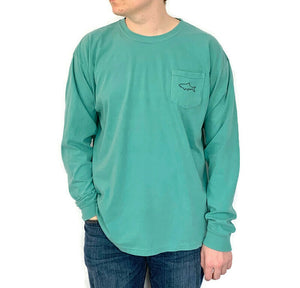Adult Long Sleeve Pocket T-Shirt - Retro Seafoam